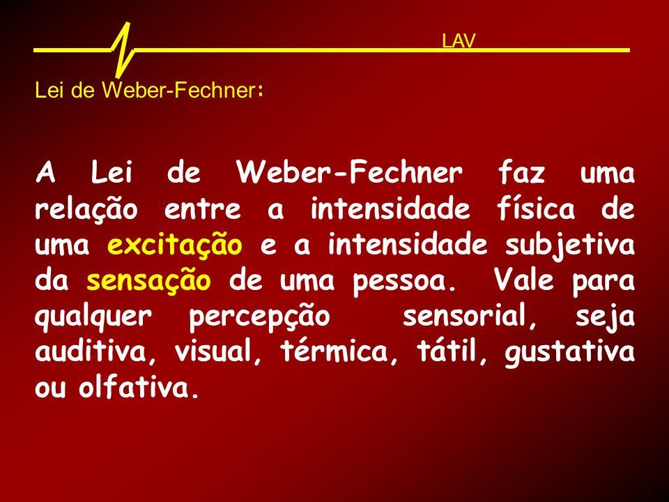 Lei de Weber-Fechner : A Lei de Weber-Fechner faz uma relação entre a intensidade física de uma excitação e a intensidade subjetiva da sensação de uma