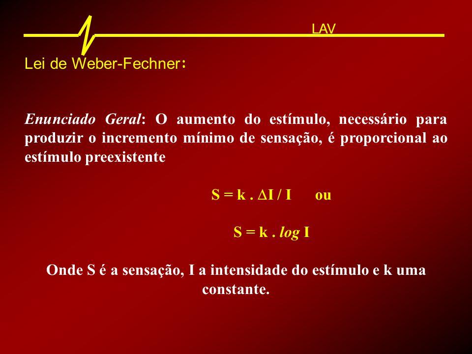Lei de Weber-Fechner : Enunciado Geral: O aumento do estímulo, necessário para produzir o incremento mínimo de sensação, é proporcional ao estímulo pr