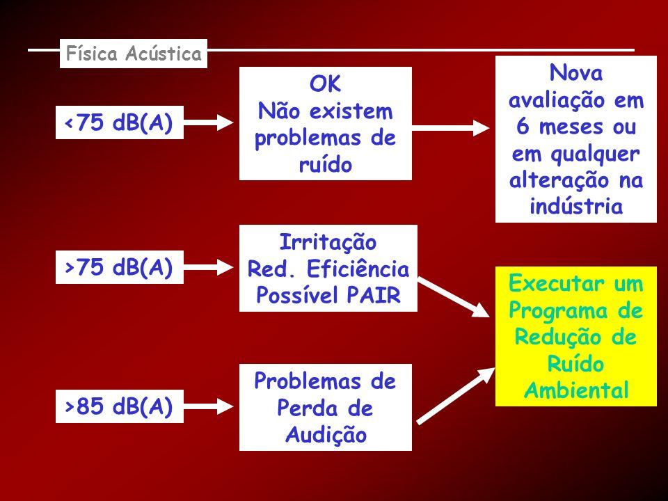 Física Acústica <75 dB(A) OK Não existem problemas de ruído Problemas de Perda de Audição >75 dB(A) >85 dB(A) Irritação Red. Eficiência Possível PAIR