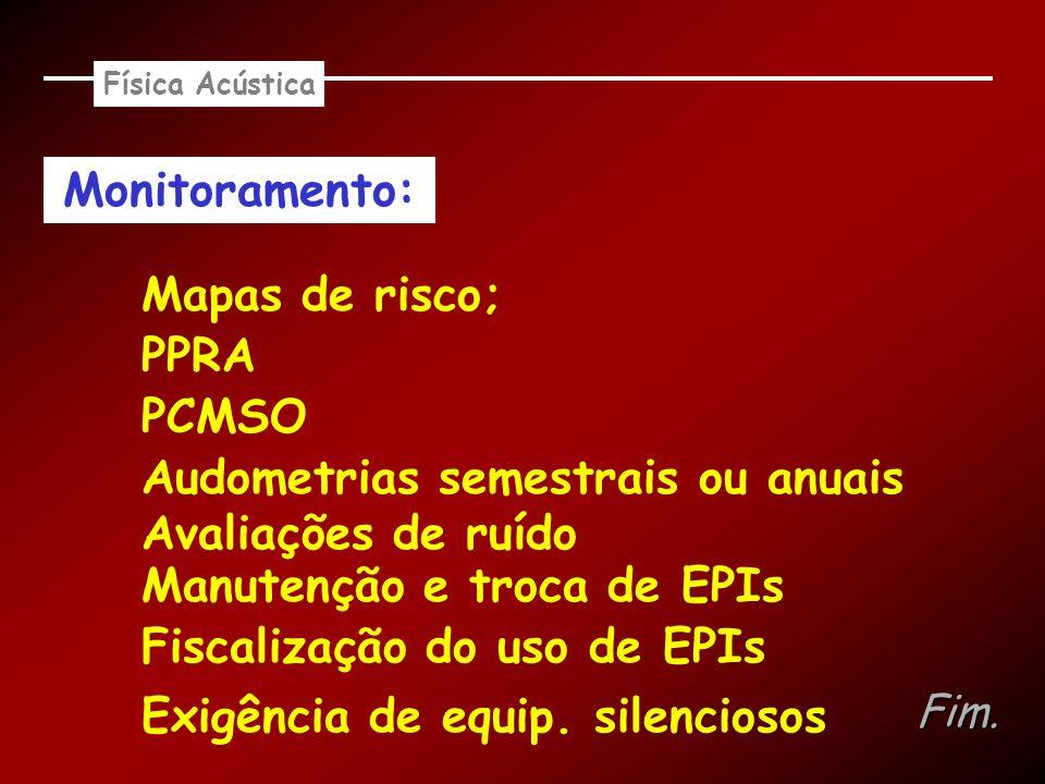 Física Acústica Monitoramento: Fim. Mapas de risco; PPRA PCMSO Audometrias semestrais ou anuais Avaliações de ruído Exigência de equip. silenciosos Ma