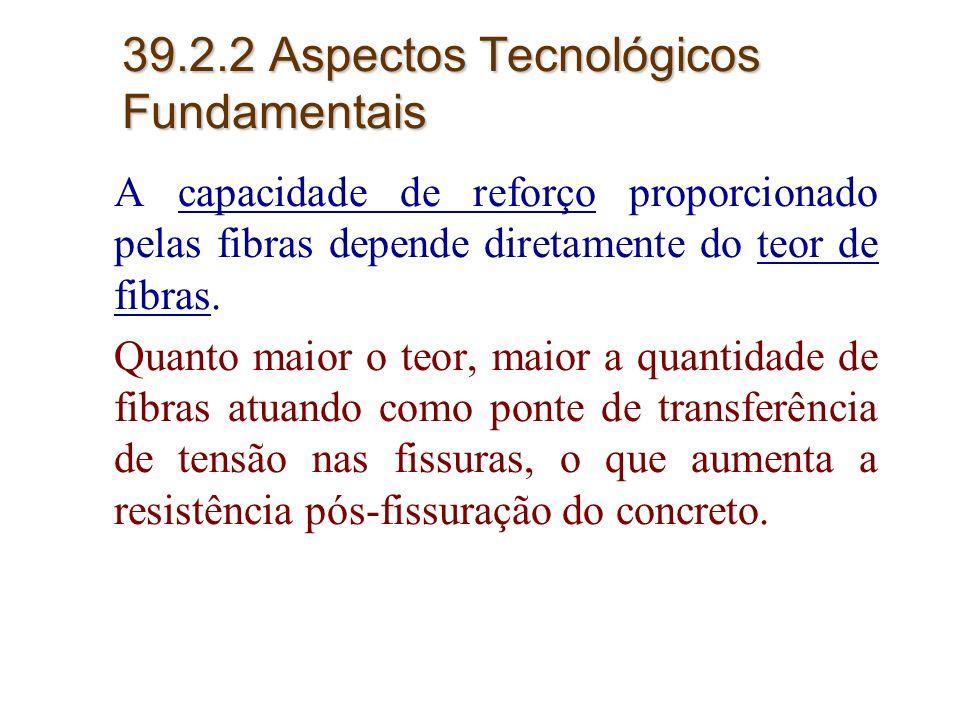 15 39.2.2 Aspectos Tecnológicos Fundamentais A capacidade de reforço proporcionado pelas fibras depende diretamente do teor de fibras. Quanto maior o