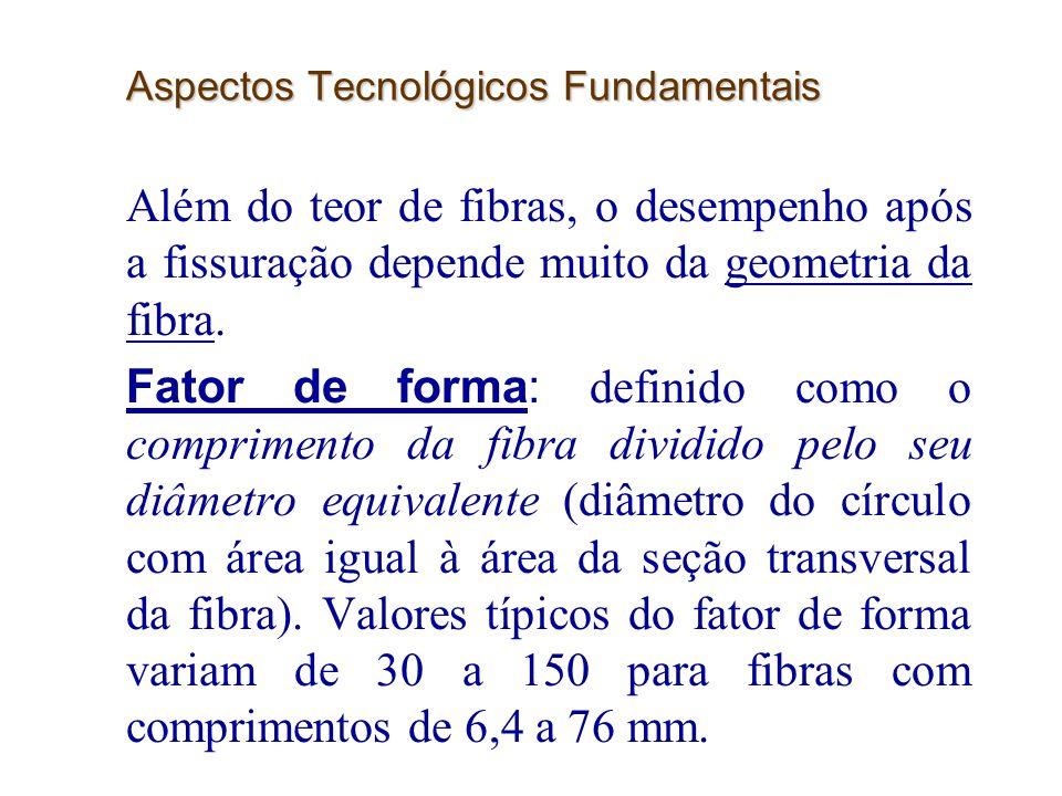 17 Aspectos Tecnológicos Fundamentais Além do teor de fibras, o desempenho após a fissuração depende muito da geometria da fibra. Fator de forma: defi