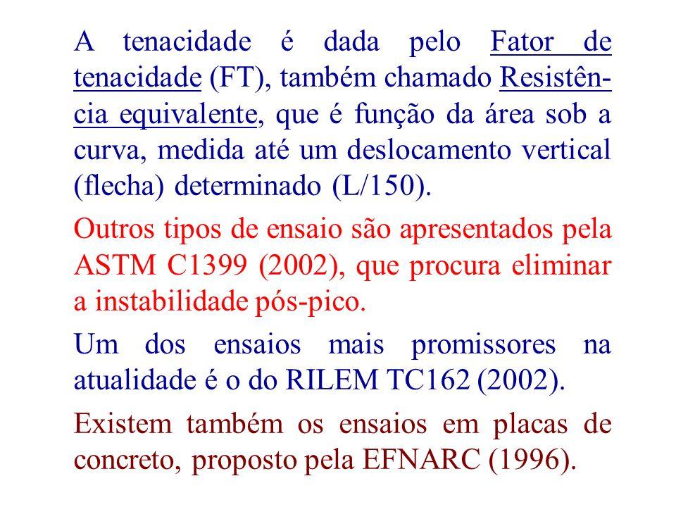 23 A tenacidade é dada pelo Fator de tenacidade (FT), também chamado Resistên- cia equivalente, que é função da área sob a curva, medida até um desloc