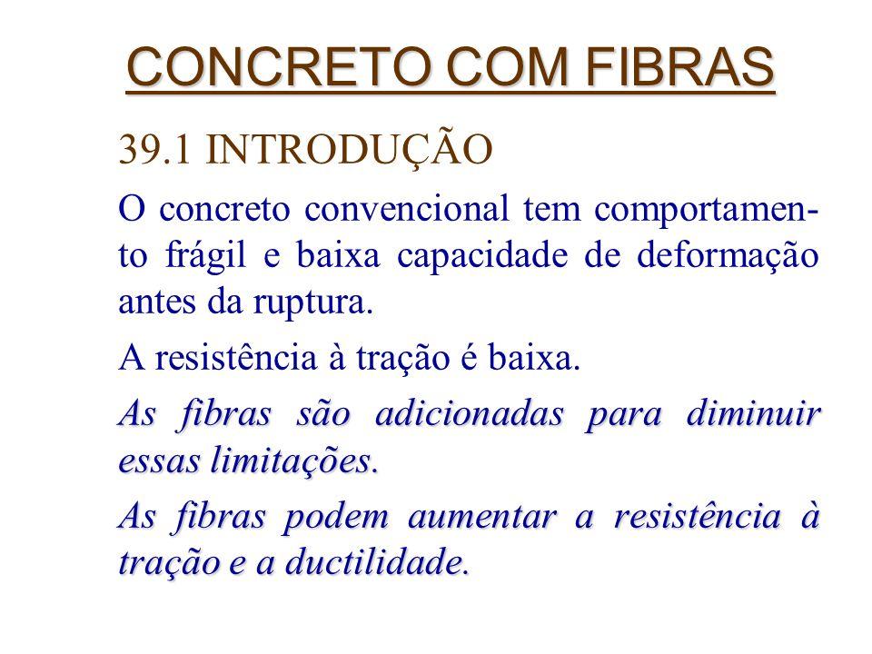3 CONCRETO COM FIBRAS 39.1 INTRODUÇÃO O concreto convencional tem comportamen- to frágil e baixa capacidade de deformação antes da ruptura. A resistên
