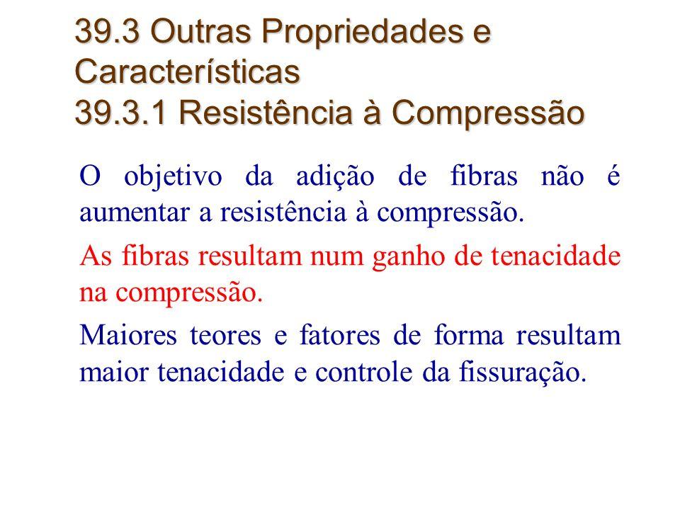 31 39.3 Outras Propriedades e Características 39.3.1 Resistência à Compressão O objetivo da adição de fibras não é aumentar a resistência à compressão