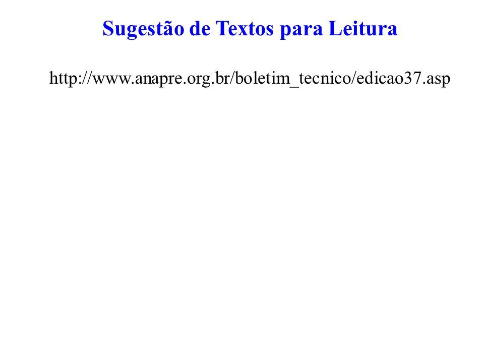 Sugestão de Textos para Leitura http://www.anapre.org.br/boletim_tecnico/edicao37.asp