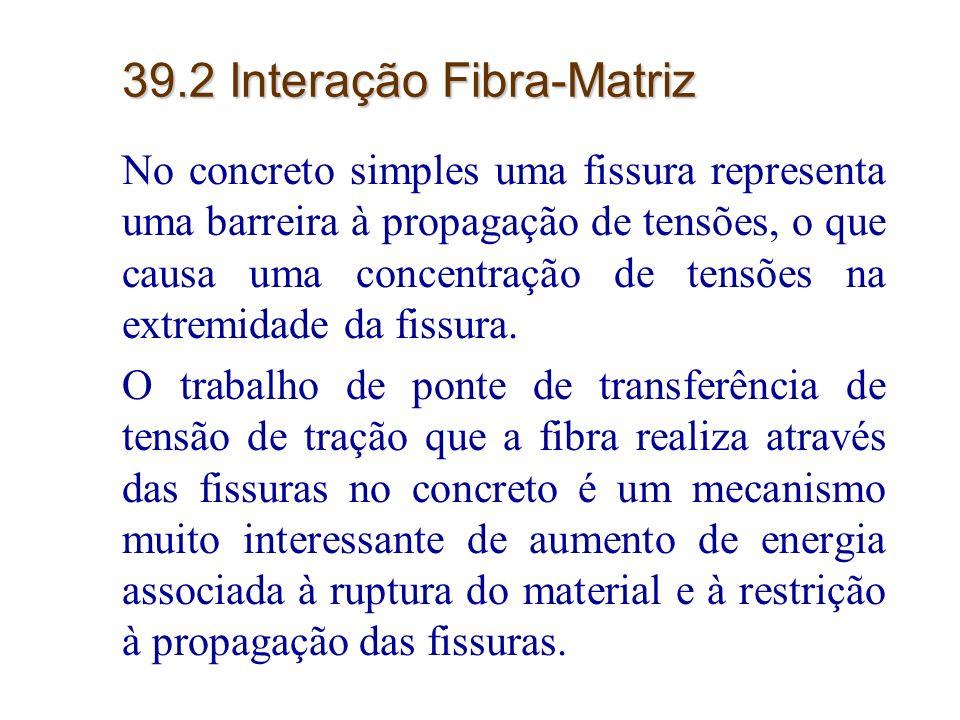 8 39.2 Interação Fibra-Matriz No concreto simples uma fissura representa uma barreira à propagação de tensões, o que causa uma concentração de tensões
