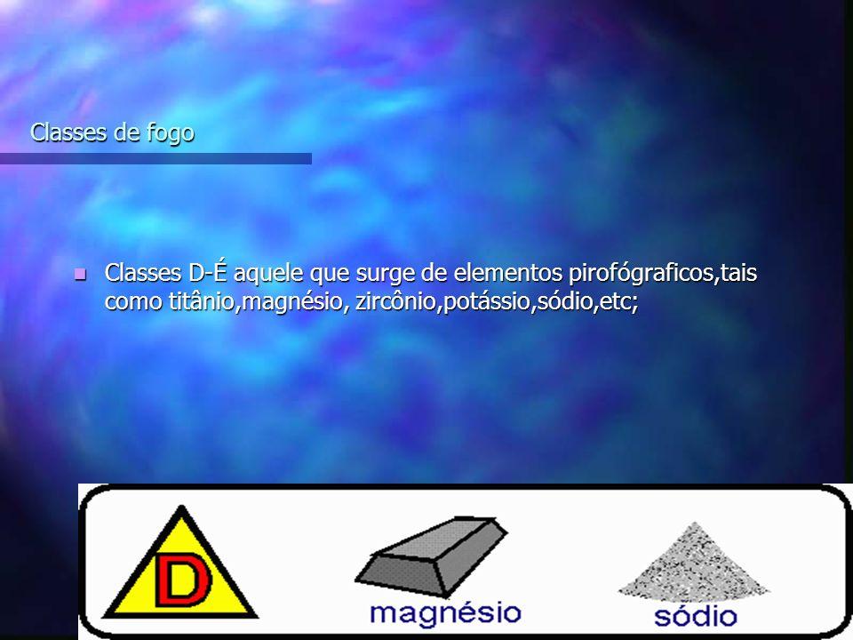 10 Classes de fogo Classes D-É aquele que surge de elementos pirofógraficos,tais como titânio,magnésio, zircônio,potássio,sódio,etc; Classes D-É aquele que surge de elementos pirofógraficos,tais como titânio,magnésio, zircônio,potássio,sódio,etc;