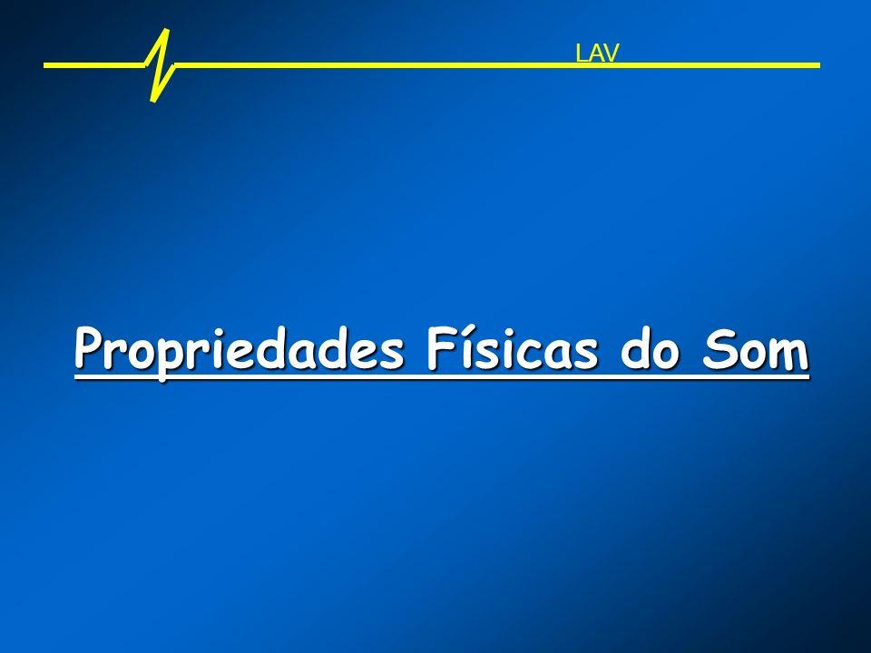 Propriedades Físicas do Som - Freqüência AnimalLimite inferior Limite superior Gatos10 Hz60 kHz Cães15 Hz50 kHz Morcegos10 kHz120 kHz Golfinhos10 kHz240 kHz LAV