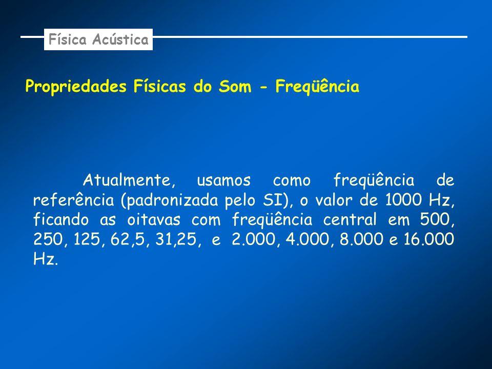 Propriedades Físicas do Som - Freqüência Atualmente, usamos como freqüência de referência (padronizada pelo SI), o valor de 1000 Hz, ficando as oitava