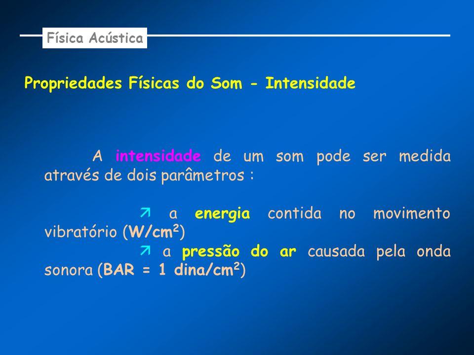 Propriedades Físicas do Som - Intensidade A intensidade de um som pode ser medida através de dois parâmetros : a energia contida no movimento vibratór