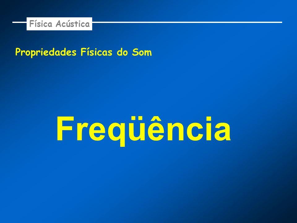 Propriedades Físicas do Som - Freqüência Freqüência (f) é a número de oscilações por segundo do movimento vibratório do som.