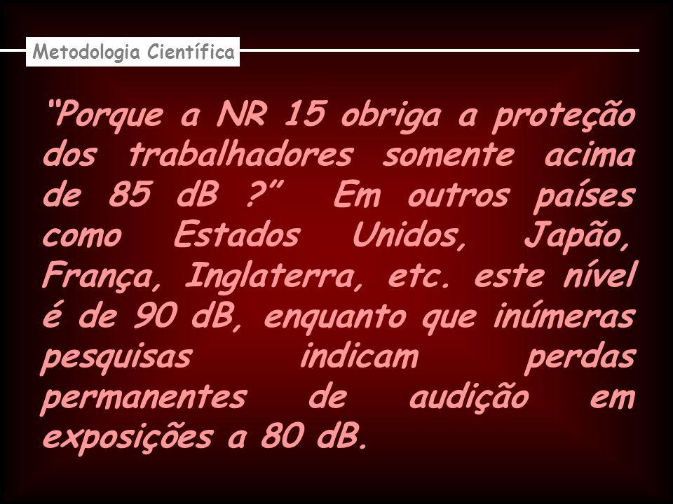 Porque a NR 15 obriga a proteção dos trabalhadores somente acima de 85 dB .