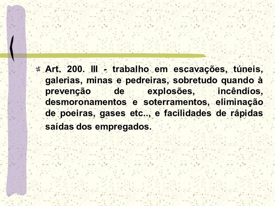 Art. 200. III - trabalho em escavações, túneis, galerias, minas e pedreiras, sobretudo quando à prevenção de explosões, incêndios, desmoronamentos e s