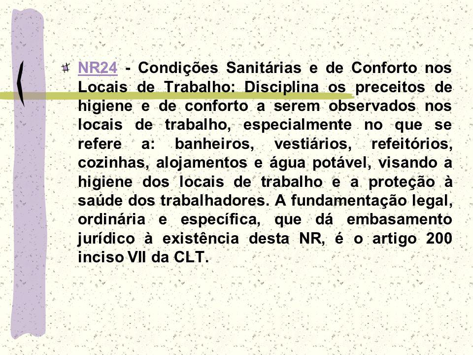 NR24NR24 - Condições Sanitárias e de Conforto nos Locais de Trabalho: Disciplina os preceitos de higiene e de conforto a serem observados nos locais d