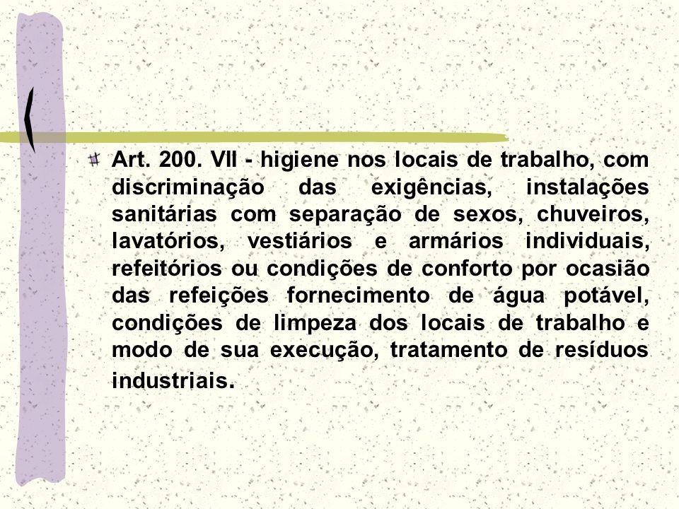 Art. 200. VII - higiene nos locais de trabalho, com discriminação das exigências, instalações sanitárias com separação de sexos, chuveiros, lavatórios