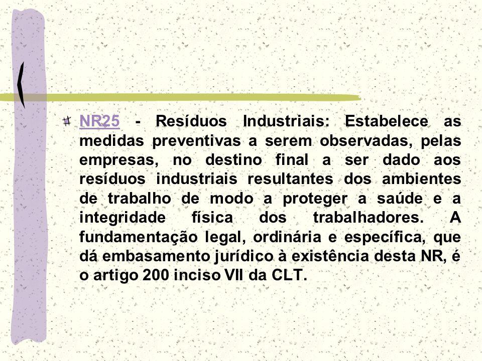 NR25NR25 - Resíduos Industriais: Estabelece as medidas preventivas a serem observadas, pelas empresas, no destino final a ser dado aos resíduos indust