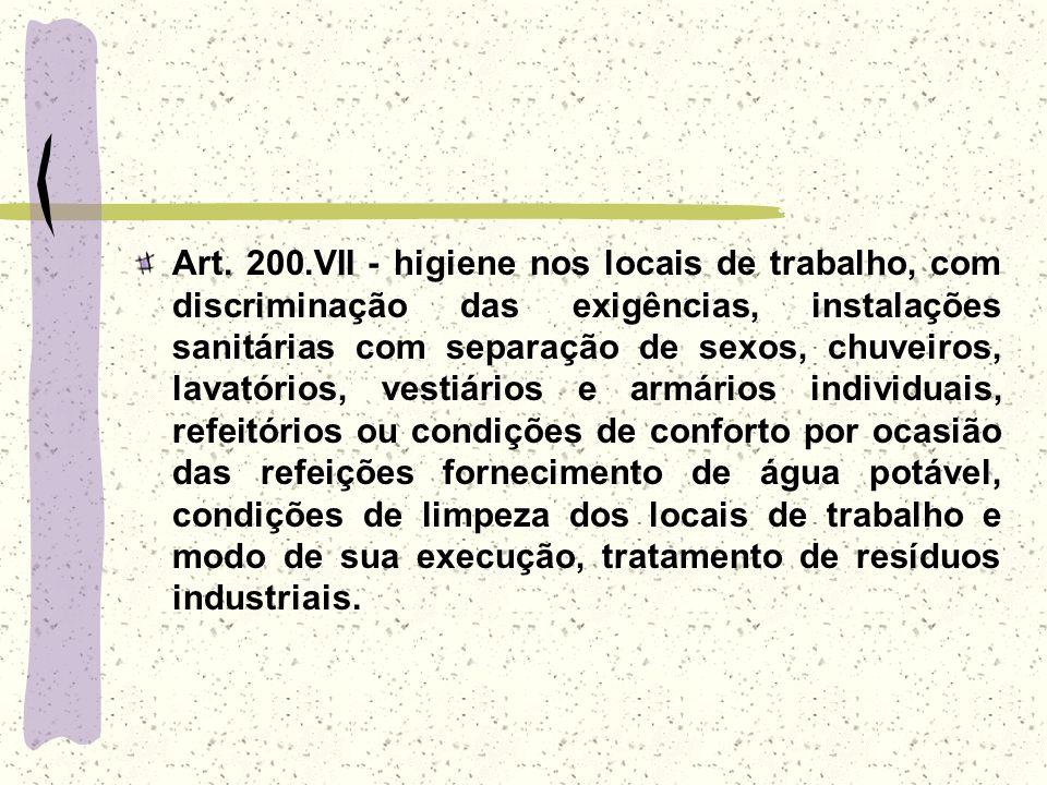 Art. 200.VII - higiene nos locais de trabalho, com discriminação das exigências, instalações sanitárias com separação de sexos, chuveiros, lavatórios,