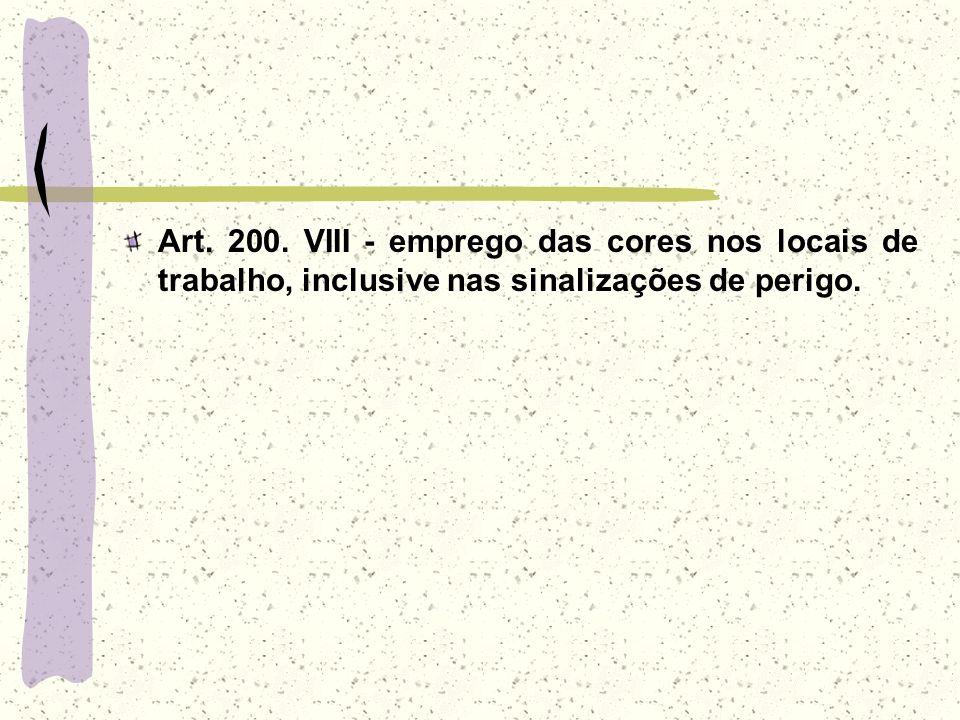 Art. 200. VIII - emprego das cores nos locais de trabalho, inclusive nas sinalizações de perigo.