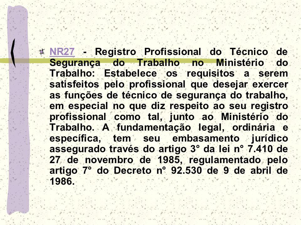 NR27NR27 - Registro Profissional do Técnico de Segurança do Trabalho no Ministério do Trabalho: Estabelece os requisitos a serem satisfeitos pelo prof