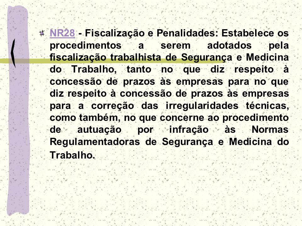 NR28NR28 - Fiscalização e Penalidades: Estabelece os procedimentos a serem adotados pela fiscalização trabalhista de Segurança e Medicina do Trabalho,