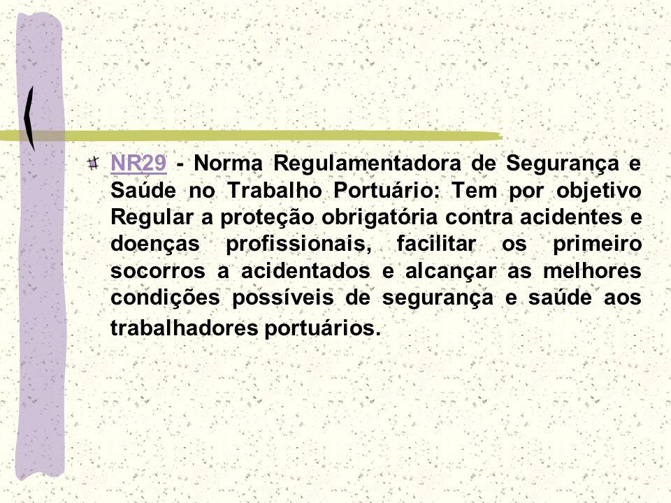 NR29NR29 - Norma Regulamentadora de Segurança e Saúde no Trabalho Portuário: Tem por objetivo Regular a proteção obrigatória contra acidentes e doença