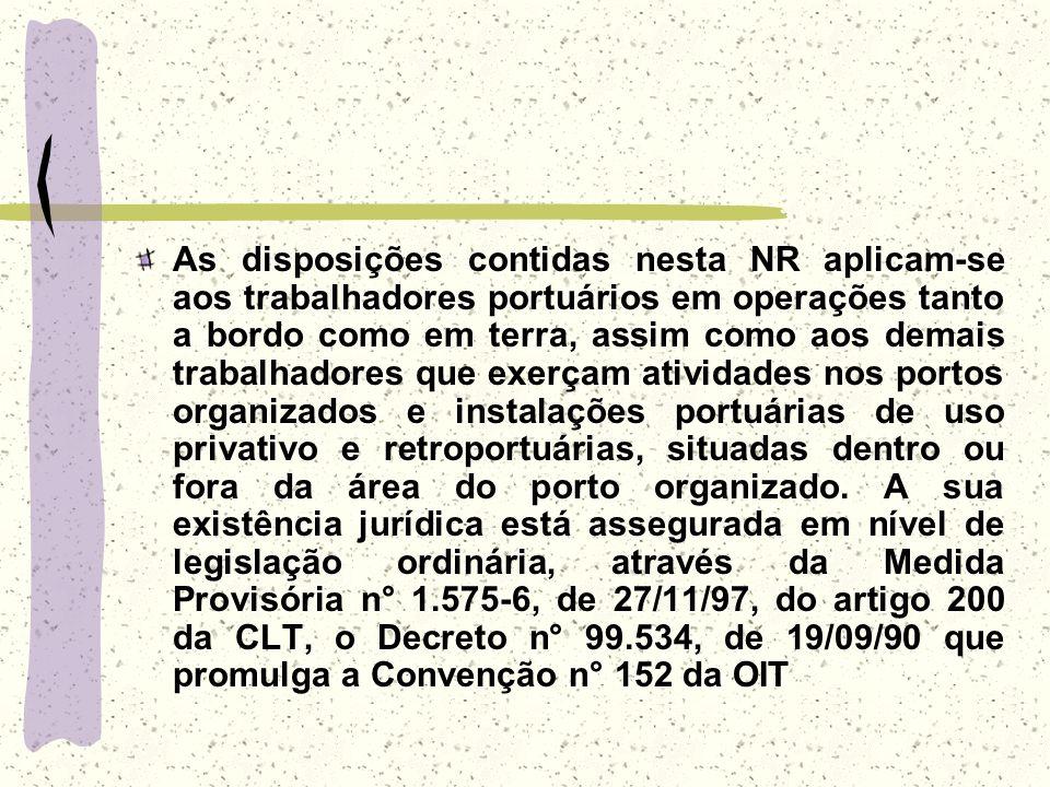 As disposições contidas nesta NR aplicam-se aos trabalhadores portuários em operações tanto a bordo como em terra, assim como aos demais trabalhadores