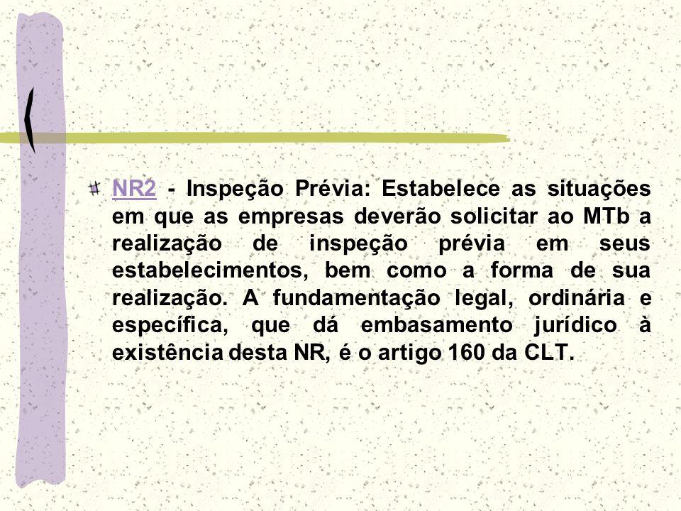 NR2NR2 - Inspeção Prévia: Estabelece as situações em que as empresas deverão solicitar ao MTb a realização de inspeção prévia em seus estabelecimentos
