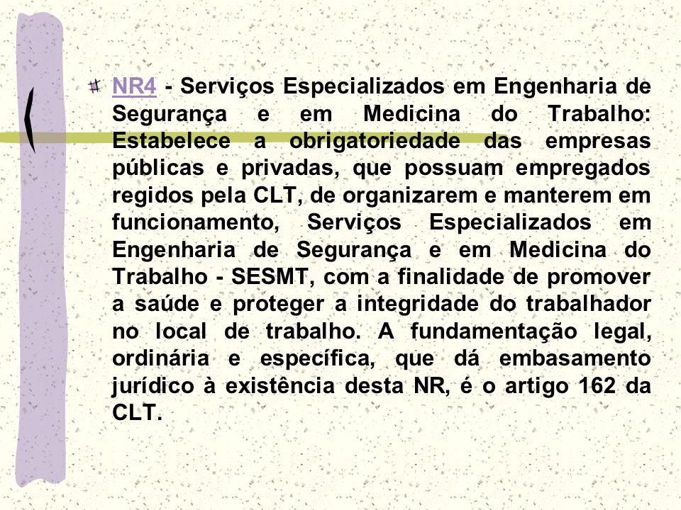 NR4NR4 - Serviços Especializados em Engenharia de Segurança e em Medicina do Trabalho: Estabelece a obrigatoriedade das empresas públicas e privadas,