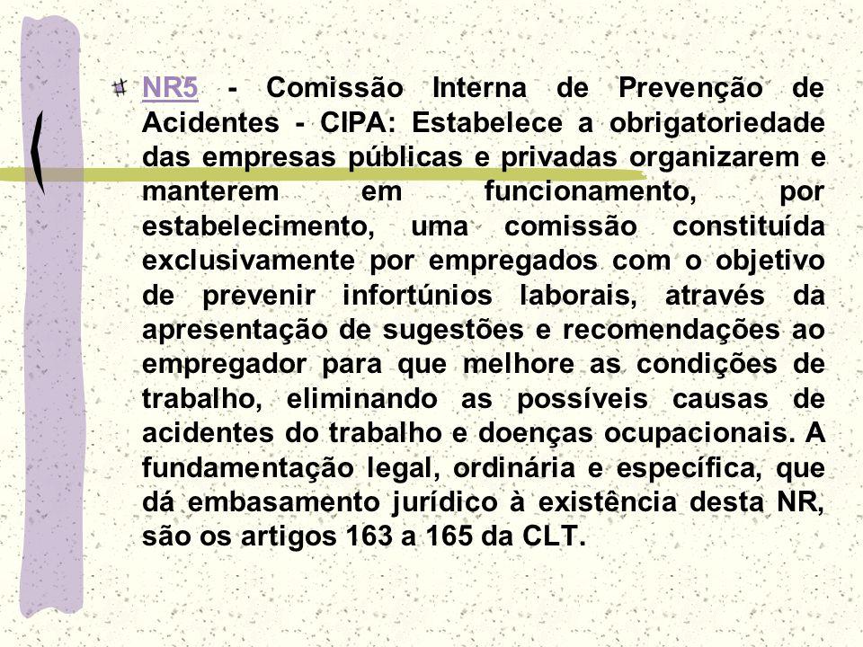 NR5NR5 - Comissão Interna de Prevenção de Acidentes - CIPA: Estabelece a obrigatoriedade das empresas públicas e privadas organizarem e manterem em fu