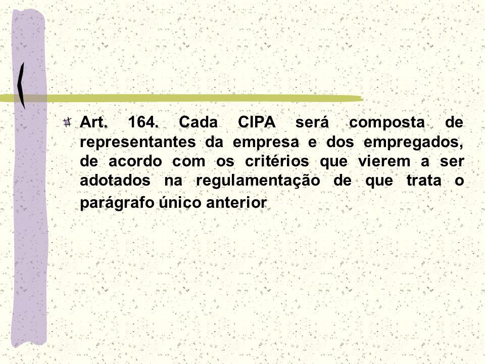 Art. 164. Cada CIPA será composta de representantes da empresa e dos empregados, de acordo com os critérios que vierem a ser adotados na regulamentaçã