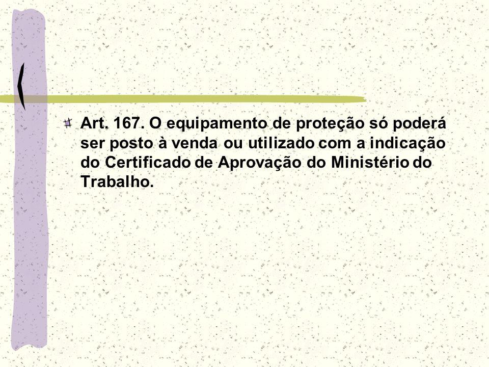 Art. 167. O equipamento de proteção só poderá ser posto à venda ou utilizado com a indicação do Certificado de Aprovação do Ministério do Trabalho.