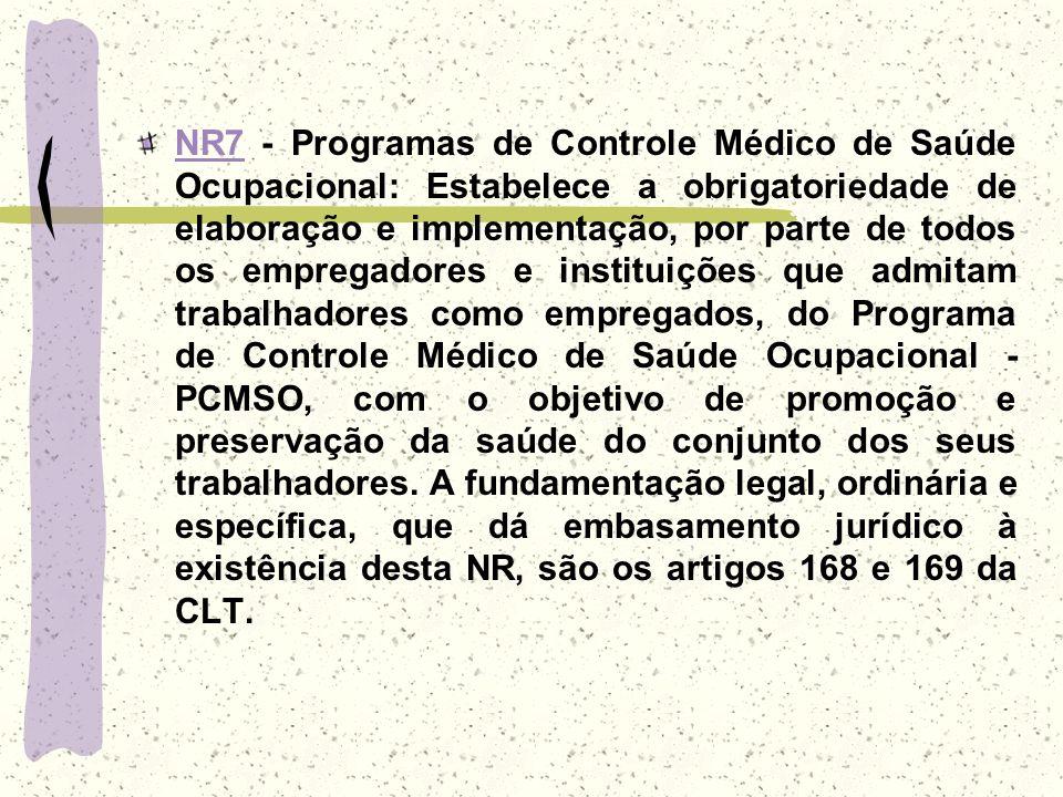 NR7NR7 - Programas de Controle Médico de Saúde Ocupacional: Estabelece a obrigatoriedade de elaboração e implementação, por parte de todos os empregad