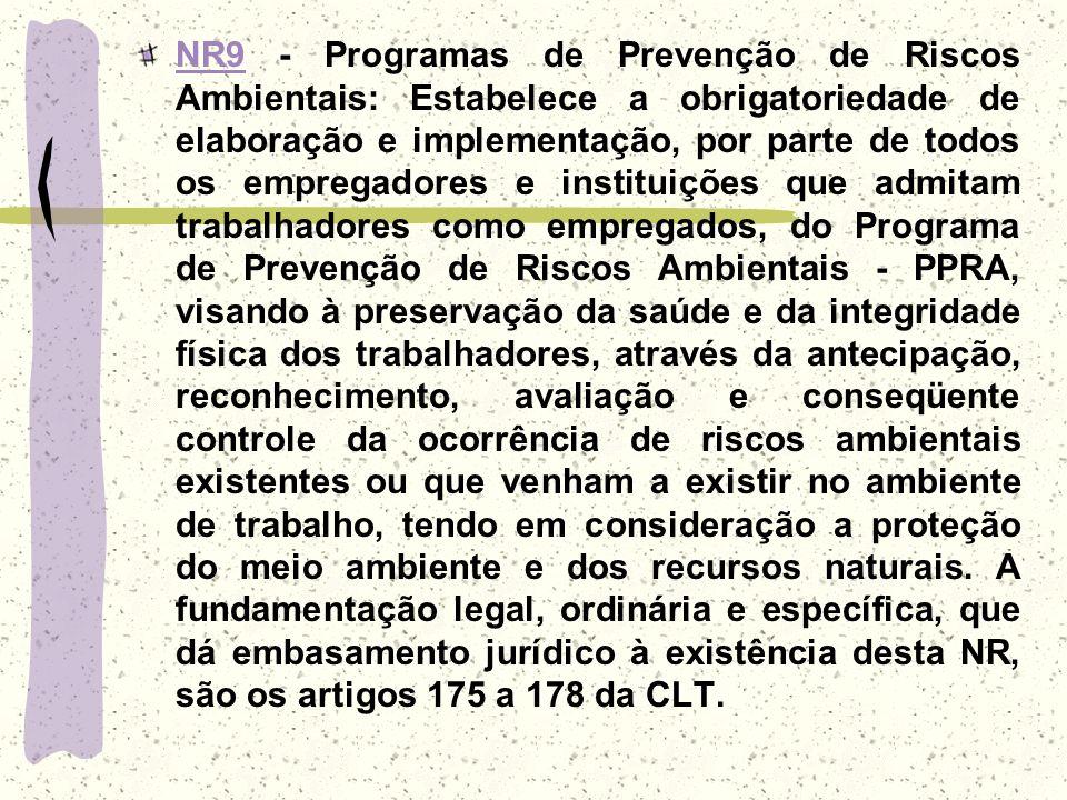 NR9NR9 - Programas de Prevenção de Riscos Ambientais: Estabelece a obrigatoriedade de elaboração e implementação, por parte de todos os empregadores e