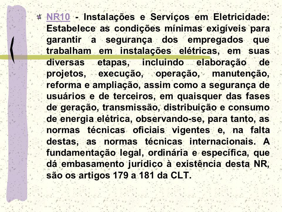 NR10NR10 - Instalações e Serviços em Eletricidade: Estabelece as condições mínimas exigíveis para garantir a segurança dos empregados que trabalham em