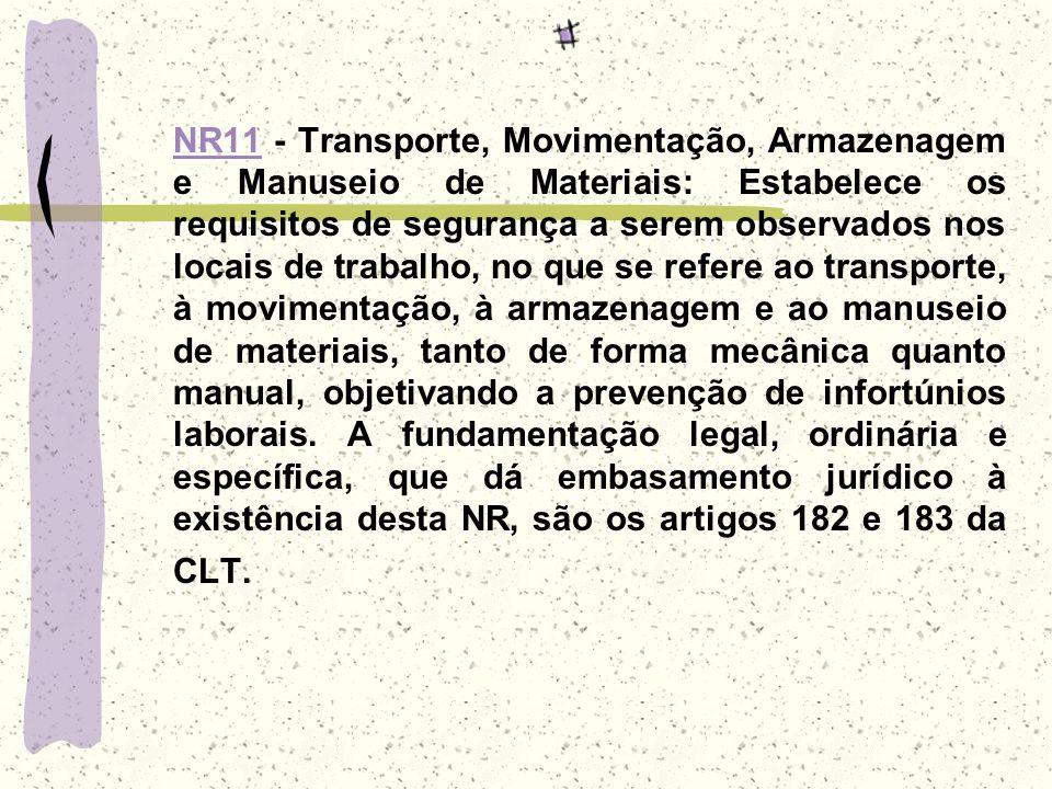 NR11NR11 - Transporte, Movimentação, Armazenagem e Manuseio de Materiais: Estabelece os requisitos de segurança a serem observados nos locais de traba