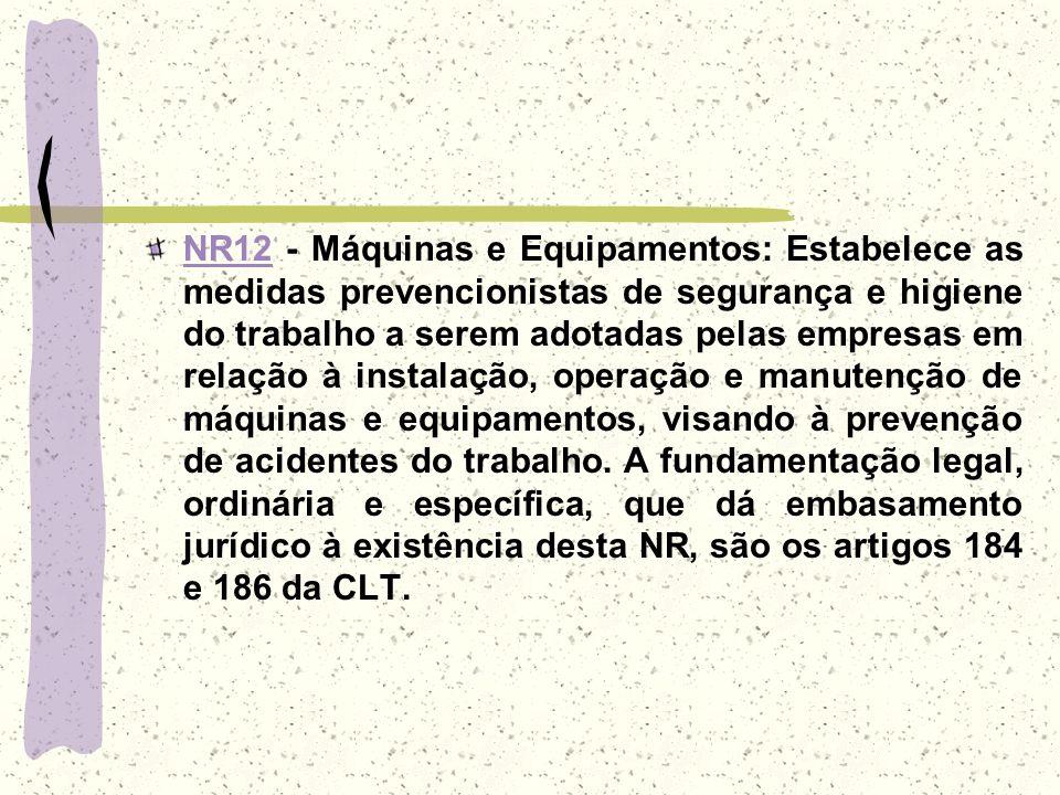 NR12NR12 - Máquinas e Equipamentos: Estabelece as medidas prevencionistas de segurança e higiene do trabalho a serem adotadas pelas empresas em relaçã