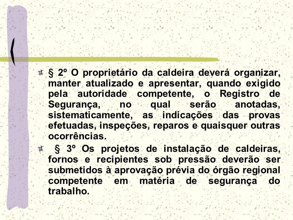 § 2º O proprietário da caldeira deverá organizar, manter atualizado e apresentar, quando exigido pela autoridade competente, o Registro de Segurança,