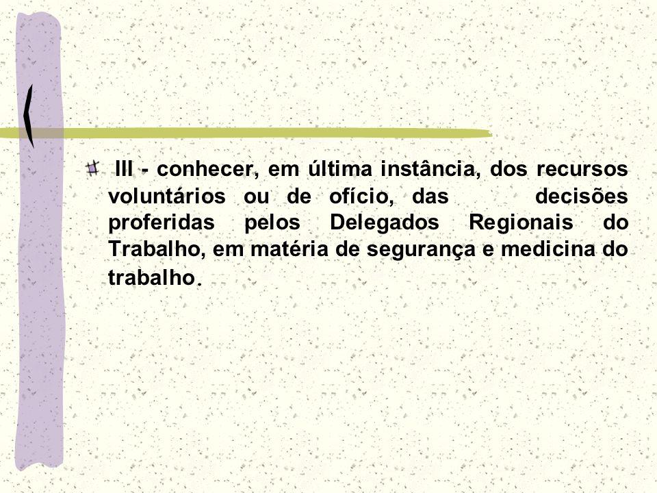 III - conhecer, em última instância, dos recursos voluntários ou de ofício, das decisões proferidas pelos Delegados Regionais do Trabalho, em matéria