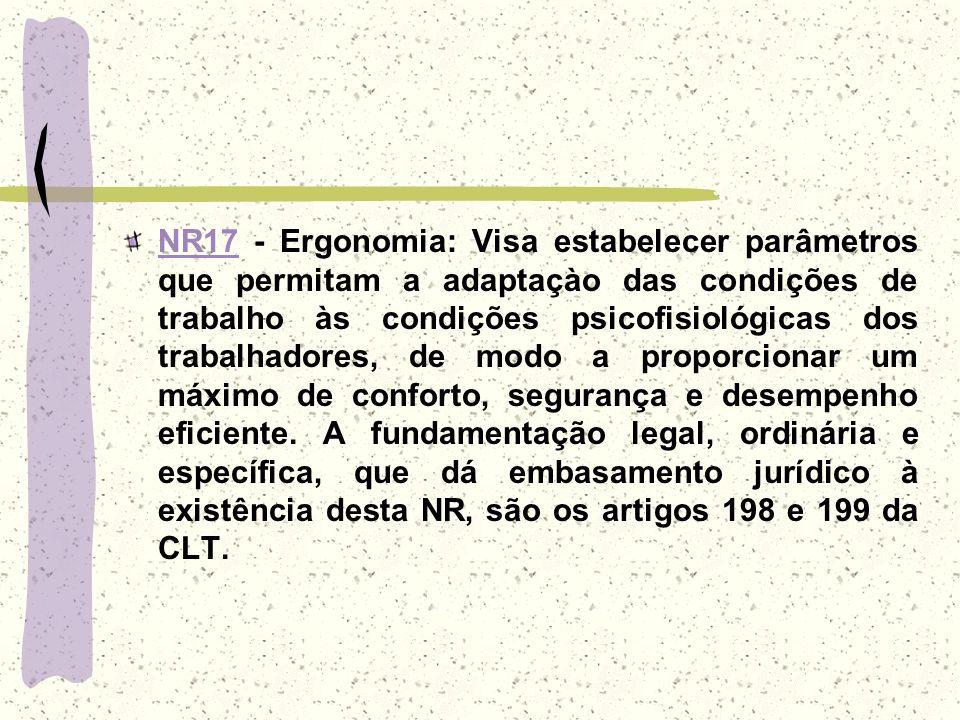 NR17NR17 - Ergonomia: Visa estabelecer parâmetros que permitam a adaptaçào das condições de trabalho às condições psicofisiológicas dos trabalhadores,