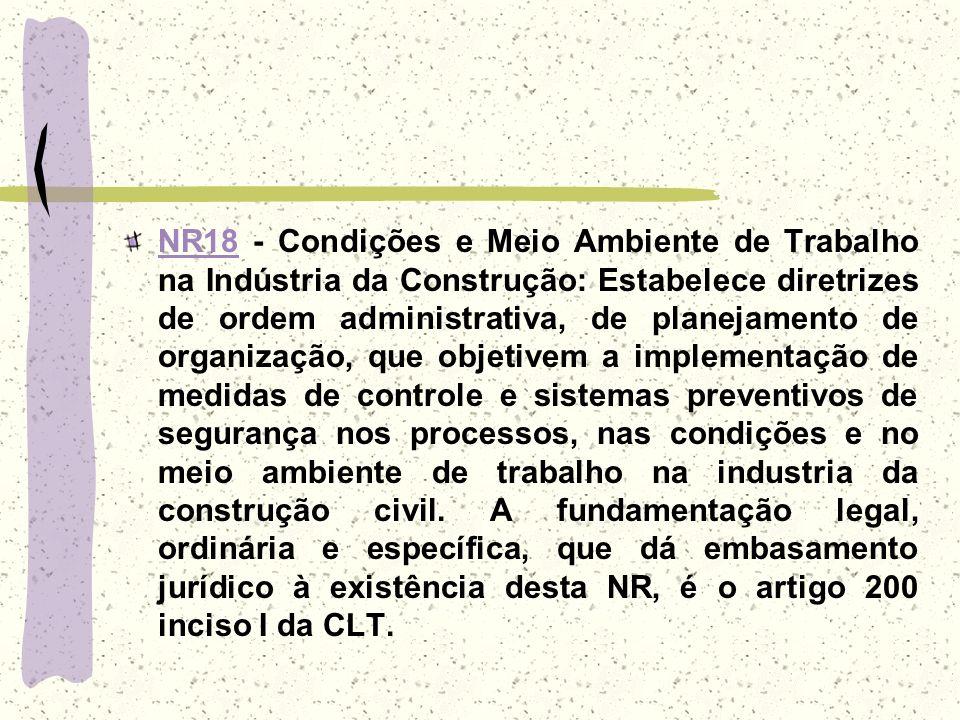 NR18NR18 - Condições e Meio Ambiente de Trabalho na Indústria da Construção: Estabelece diretrizes de ordem administrativa, de planejamento de organiz