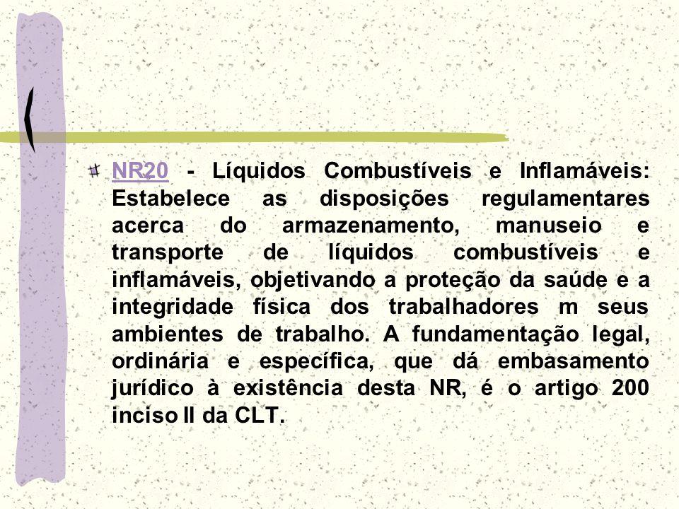 NR20NR20 - Líquidos Combustíveis e Inflamáveis: Estabelece as disposições regulamentares acerca do armazenamento, manuseio e transporte de líquidos co