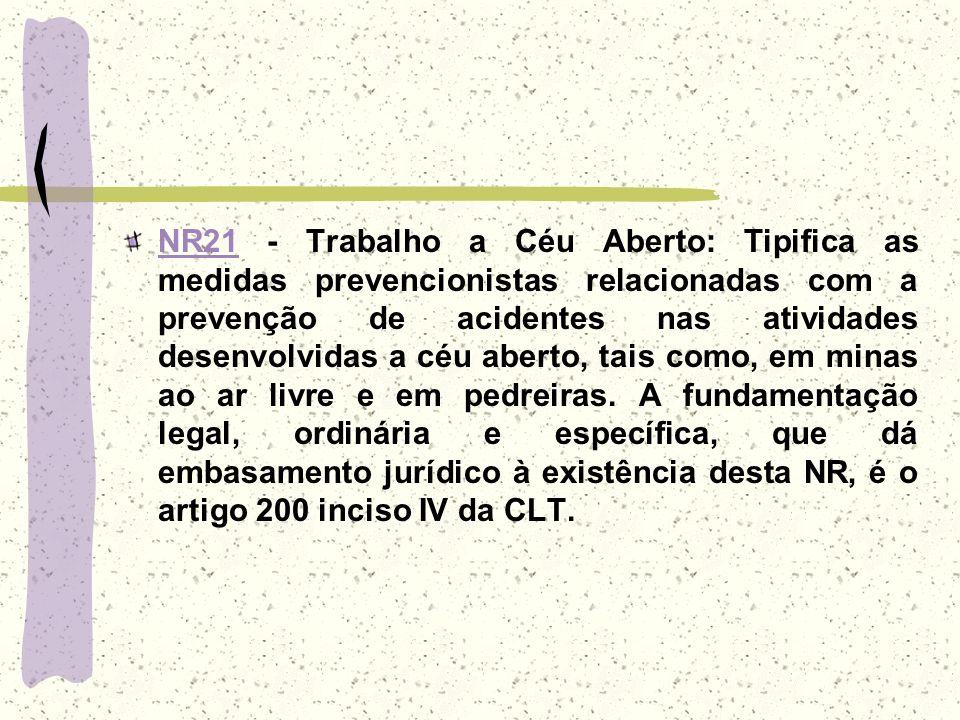 NR21NR21 - Trabalho a Céu Aberto: Tipifica as medidas prevencionistas relacionadas com a prevenção de acidentes nas atividades desenvolvidas a céu abe