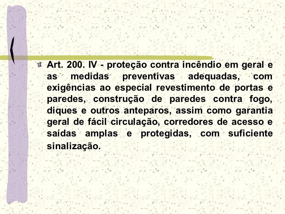 Art. 200. IV - proteção contra incêndio em geral e as medidas preventivas adequadas, com exigências ao especial revestimento de portas e paredes, cons