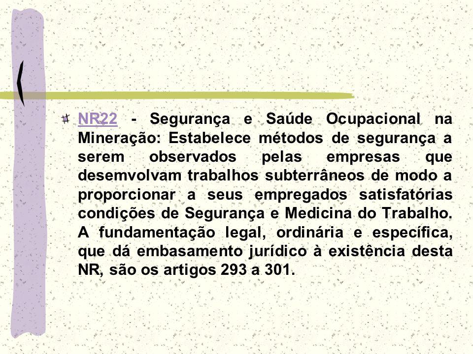 NR22NR22 - Segurança e Saúde Ocupacional na Mineração: Estabelece métodos de segurança a serem observados pelas empresas que desemvolvam trabalhos sub