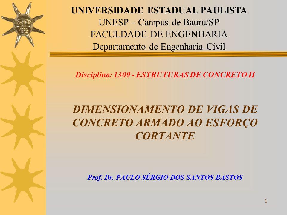 1 Disciplina: 1309 - ESTRUTURAS DE CONCRETO II DIMENSIONAMENTO DE VIGAS DE CONCRETO ARMADO AO ESFORÇO CORTANTE Prof. Dr. PAULO SÉRGIO DOS SANTOS BASTO