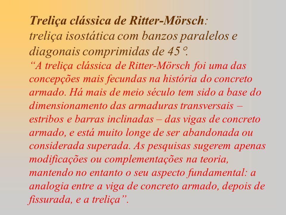 Treliça clássica de Ritter-Mörsch: treliça isostática com banzos paralelos e diagonais comprimidas de 45.A treliça clássica de Ritter-Mörsch foi uma d