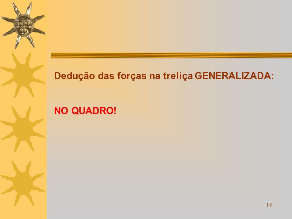 18 Dedução das forças na treliça GENERALIZADA: NO QUADRO!