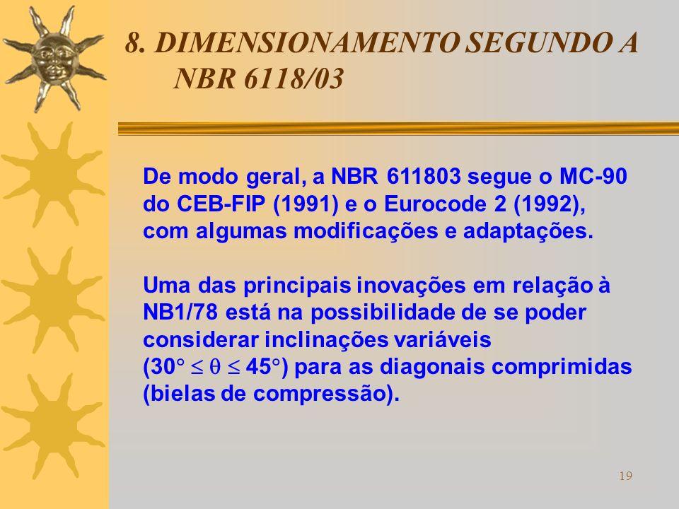 19 8. DIMENSIONAMENTO SEGUNDO A NBR 6118/03 De modo geral, a NBR 611803 segue o MC-90 do CEB-FIP (1991) e o Eurocode 2 (1992), com algumas modificaçõe