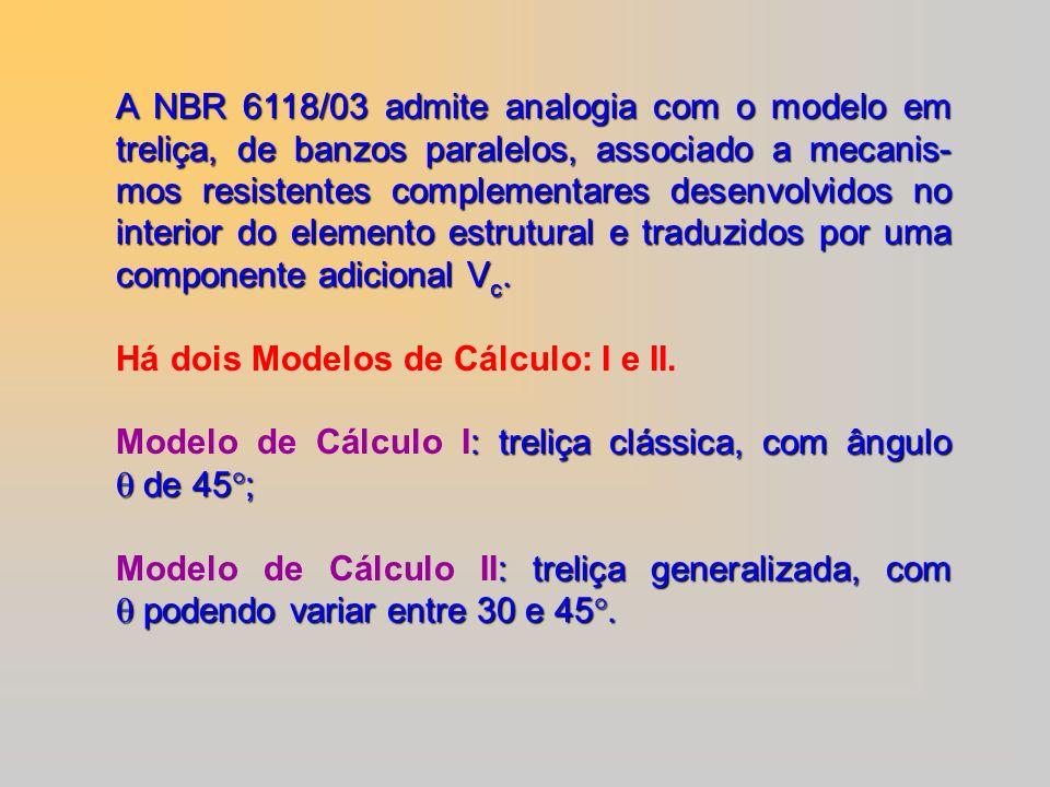 A NBR 6118/03 admite analogia com o modelo em treliça, de banzos paralelos, associado a mecanis- mos resistentes complementares desenvolvidos no inter